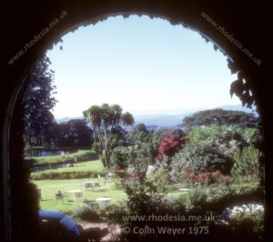 View of Rhodesia through window of Leopard Rock Hotel.